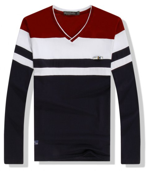 Men'S Spliced Long Sleeved T-Shirts - RED L