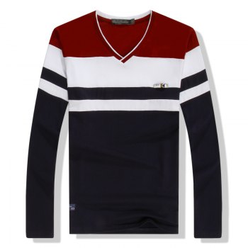 Men'S Spliced Long Sleeved T-Shirts - RED RED