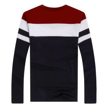 Men'S Spliced Long Sleeved T-Shirts - RED 3XL