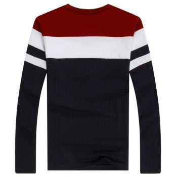 Men'S Spliced Long Sleeved T-Shirts - RED M