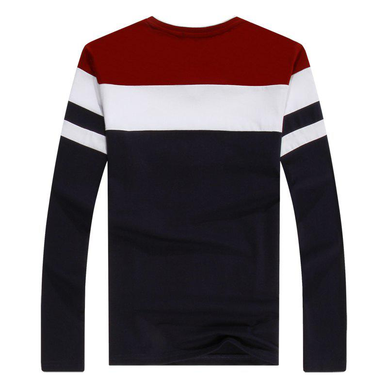 Men'S Spliced Long Sleeved T-Shirts - RED 2XL