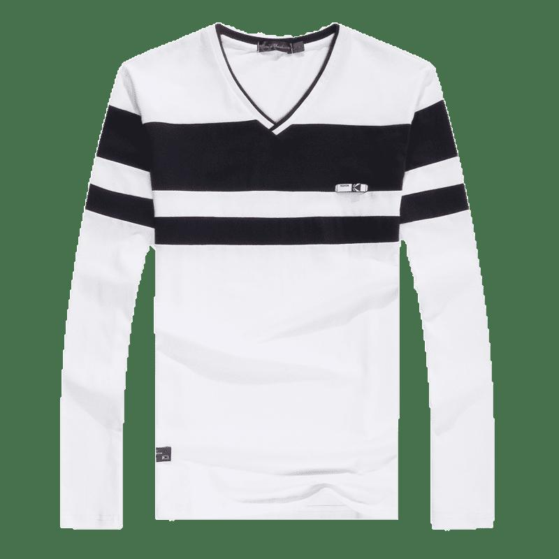 Men'S Spliced Long Sleeved T-Shirts - WHITE XL