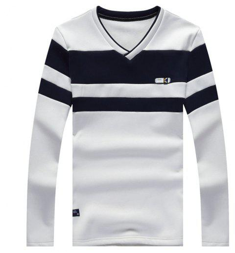 Male Cashmere Long Sleeved T-Shirts - WHITE 3XL