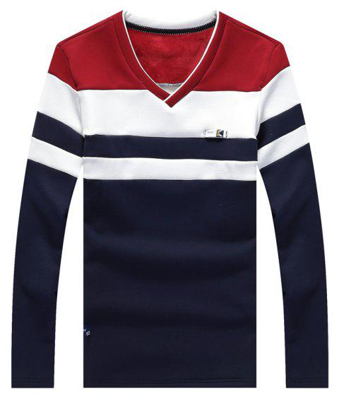 Male Cashmere Long Sleeved T-Shirts - RED L