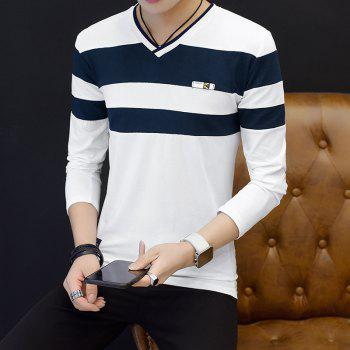 Male Cashmere Long Sleeved T-Shirts - WHITE 2XL