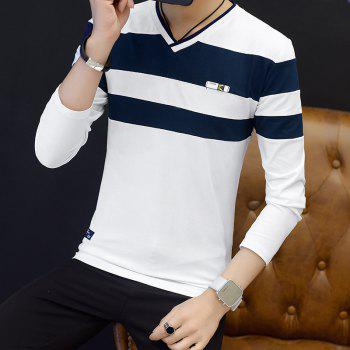 Male Cashmere Long Sleeved T-Shirts - WHITE M