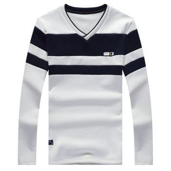 Male Cashmere Long Sleeved T-Shirts - WHITE WHITE