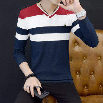 Male Cashmere Long Sleeved T-Shirts - RED M