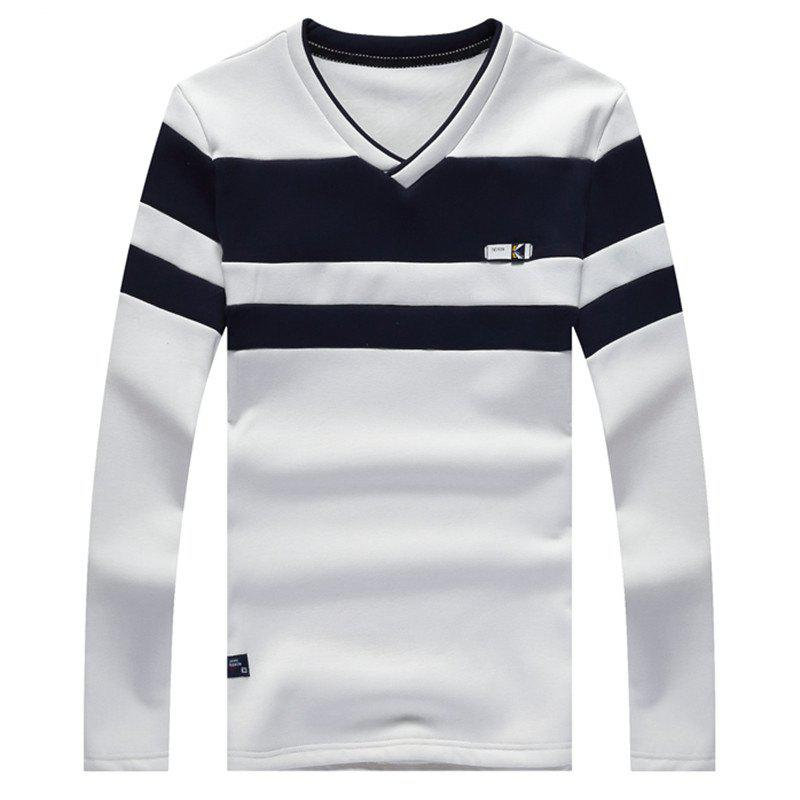 Male Cashmere Long Sleeved T-Shirts - WHITE XL