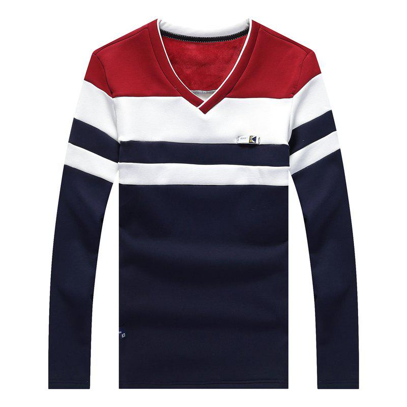 Male Cashmere Long Sleeved T-Shirts - RED XL