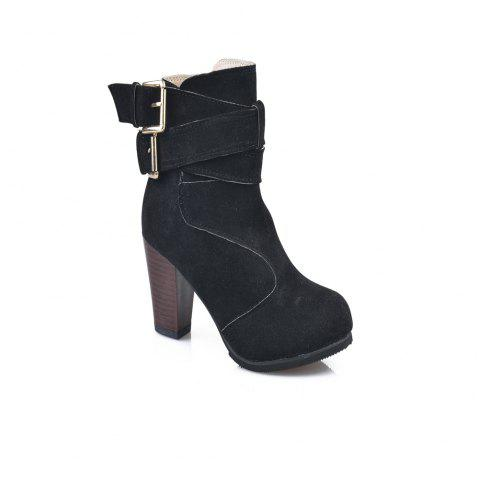 High Heel Coarse And Waterproof Platform Frosted Boot - BLACK 35