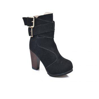 High Heel Coarse And Waterproof Platform Frosted Boot - BLACK BLACK