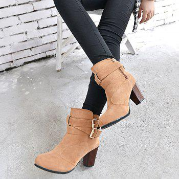 High Heel Coarse And Waterproof Platform Frosted Boot - DAISY 39