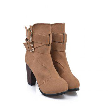 High Heel Coarse And Waterproof Platform Frosted Boot - DAISY DAISY