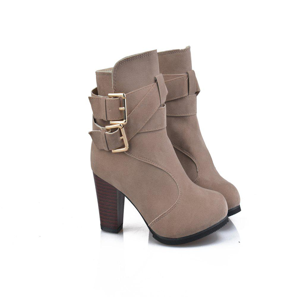 High Heel Coarse And Waterproof Platform Frosted Boot - BEIGE 35