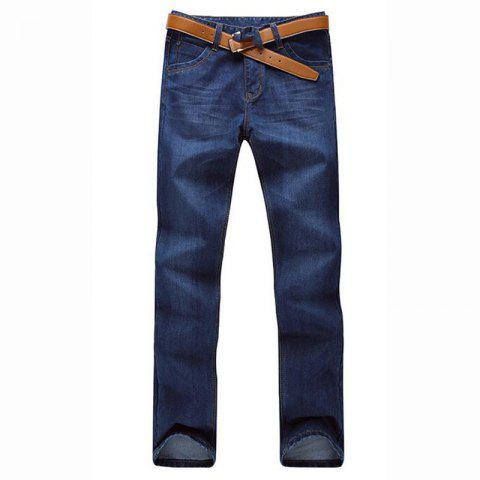 Men's Mid Rise Micro Elastic Jeans Pants Simple Straight Solid Jeans - BLUE 30