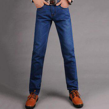 Men's Mid Rise Micro Elastic Jeans Pants Simple Straight Solid Jeans - BLUE BLUE