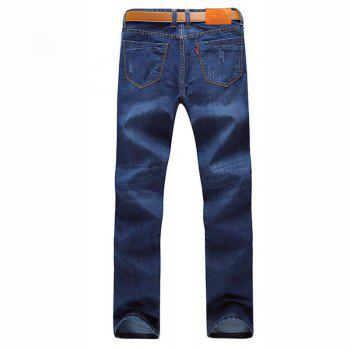 Men's Mid Rise Micro Elastic Jeans Pants Simple Straight Solid Jeans - BLUE 32