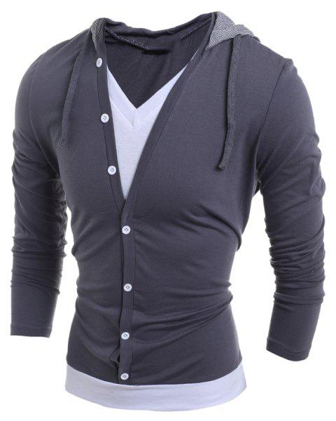 Men'S Casual Daily Hoodie Solid Hooded Micro Elastic Polyester - GRAY M