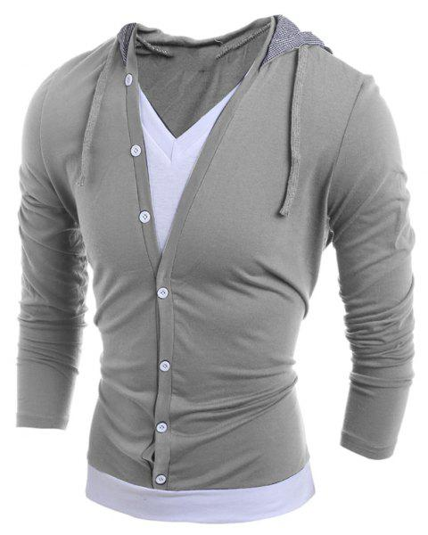 Men'S Casual Daily Hoodie Solid Hooded Micro Elastic Polyester - LIGHT GRAY XL