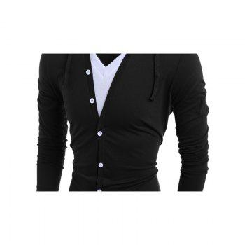 Men'S Casual Daily Hoodie Solid Hooded Micro Elastic Polyester - BLACK M