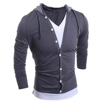 Men'S Casual Daily Hoodie Solid Hooded Micro Elastic Polyester - GRAY XL