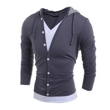 Men'S Casual Daily Hoodie Solid Hooded Micro Elastic Polyester - GRAY GRAY