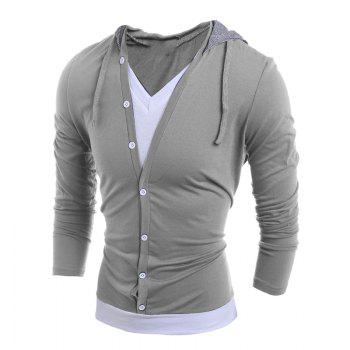 Men'S Casual Daily Hoodie Solid Hooded Micro Elastic Polyester - LIGHT GRAY LIGHT GRAY