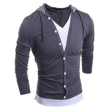 Men'S Casual Daily Hoodie Solid Hooded Micro Elastic Polyester - GRAY 2XL