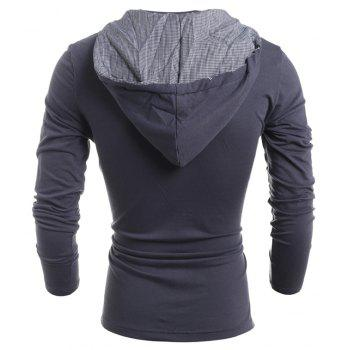Men'S Casual Daily Hoodie Solid Hooded Micro Elastic Polyester - GRAY L