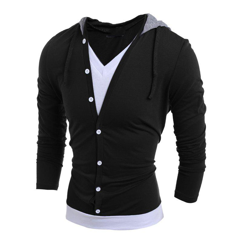 Men'S Casual Daily Hoodie Solid Hooded Micro Elastic Polyester - BLACK 2XL