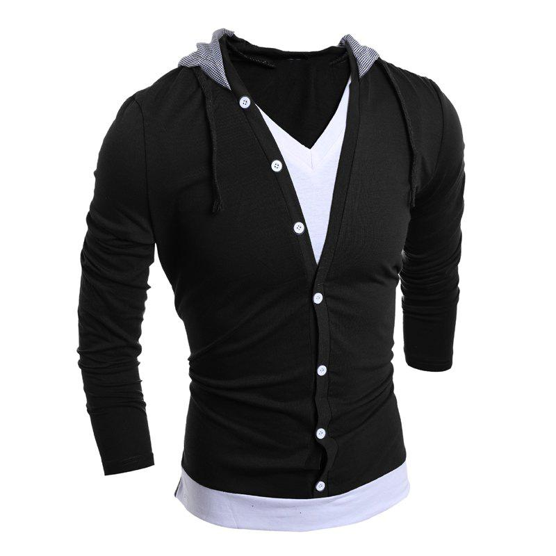 Men'S Casual Daily Hoodie Solid Hooded Micro Elastic Polyester - BLACK L
