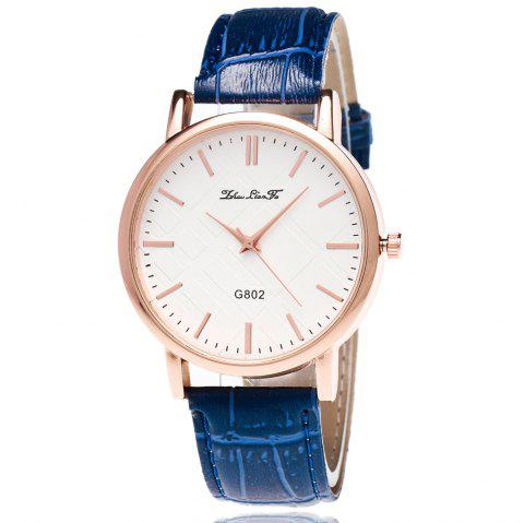 With Gift Box Quartz Watch Business Women'S Bamboo Pattern Strap Simple Temperament Watch - BLUE