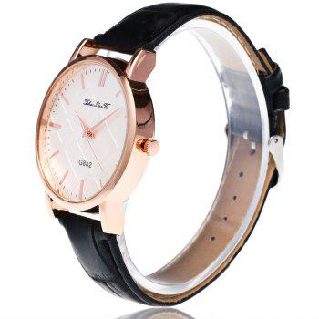 With Gift Box Quartz Watch Business Women'S Bamboo Pattern Strap Simple Temperament Watch -  BLACK