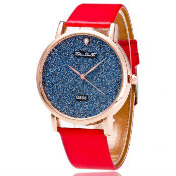 With A Gift Box Quartz Watch Creative Women'S Glossy Strap Simple Watch - RED RED