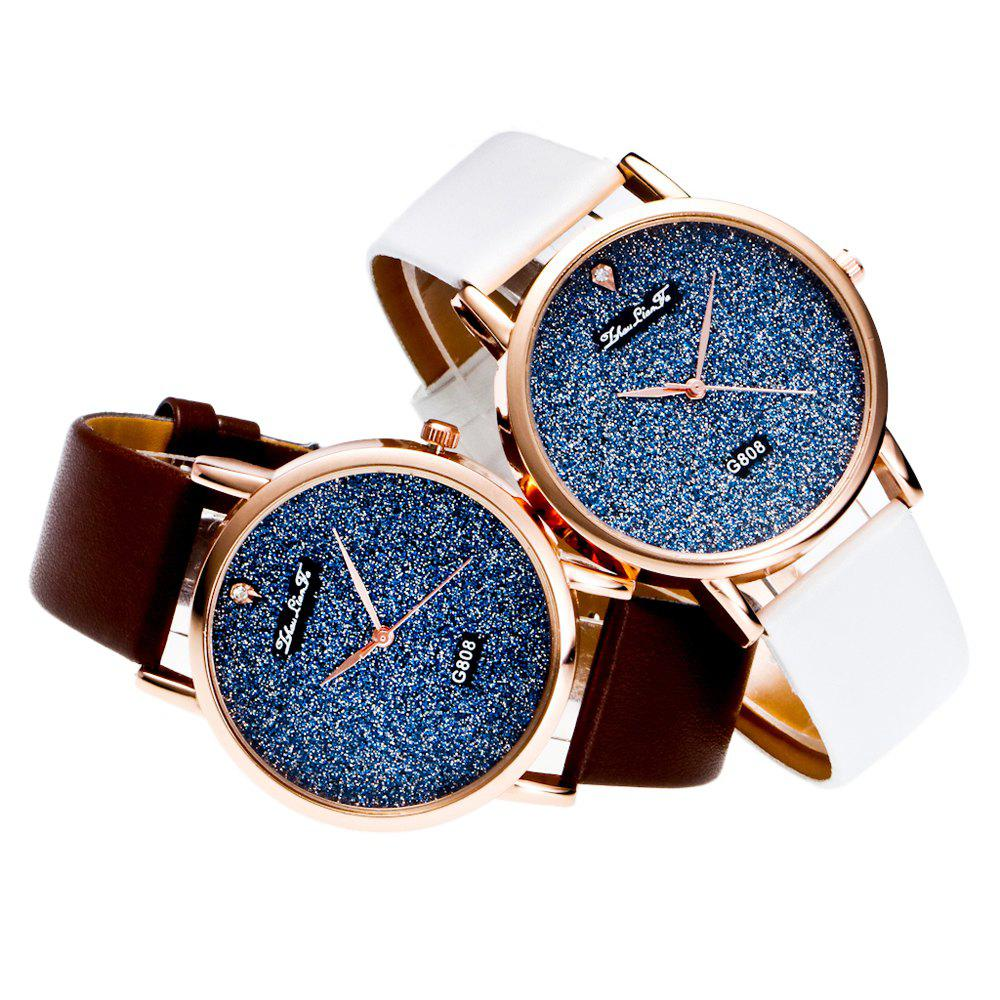 With A Gift Box Quartz Watch Creative Women'S Glossy Strap Simple Watch - WHITE