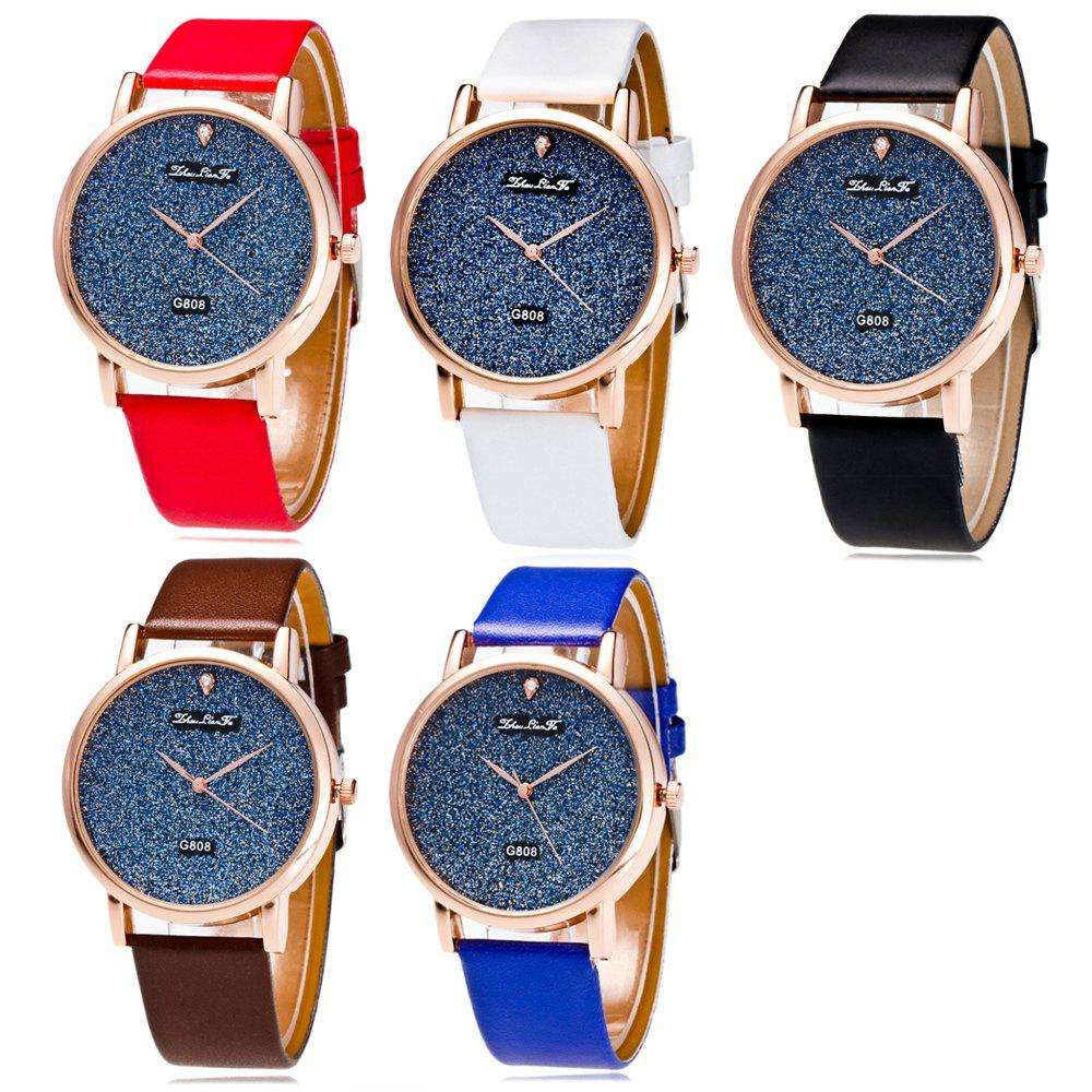 With A Gift Box Quartz Watch Creative Women'S Glossy Strap Simple Watch - BLACK