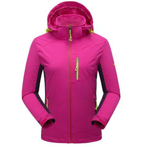 Outdoor Four Side Projectile Single Layer Charge Clothing for Male Autumn Mosaic Season Waterproof Mountaineering Suit - ROSE RED 2XL