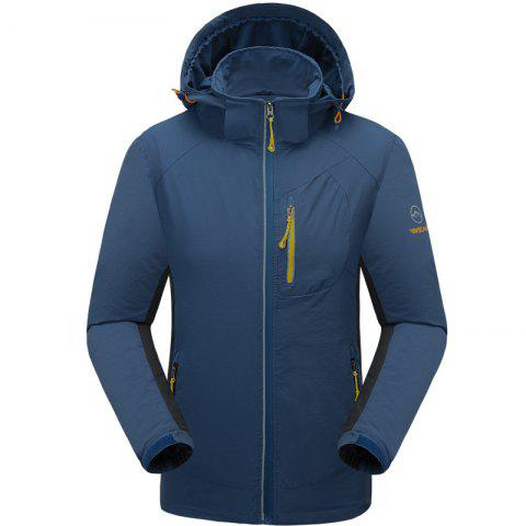 Outdoor Four Side Projectile Single Layer Charge Clothing for Male Autumn Mosaic Season Waterproof Mountaineering Suit - LAKE BLUE 3XL