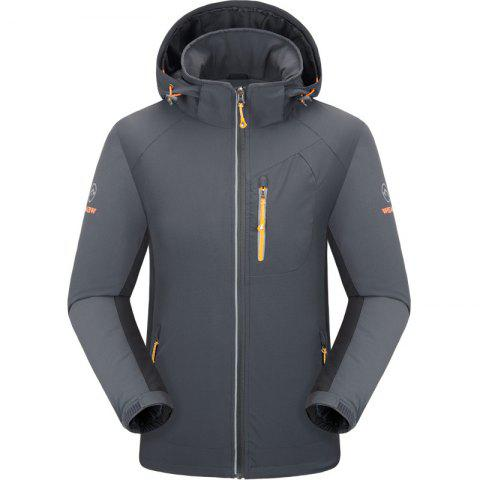 Outdoor Four Side Projectile Single Layer Charge Clothing for Male Autumn Mosaic Season Waterproof Mountaineering Suit - GRAY XL