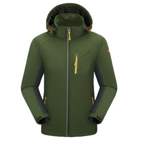 Outdoor Four Side Projectile Single Layer Charge Clothing for Male Autumn Mosaic Season Waterproof Mountaineering Suit - ARMYGREEN L