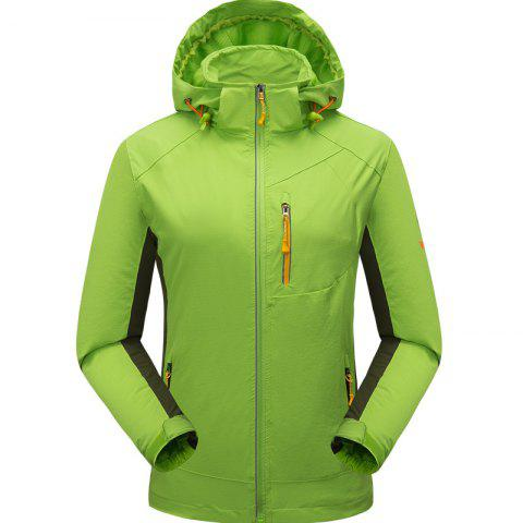 Outdoor Four Side Projectile Single Layer Charge Clothing for Male Autumn Mosaic Season Waterproof Mountaineering Suit - NEON GREEN 2XL