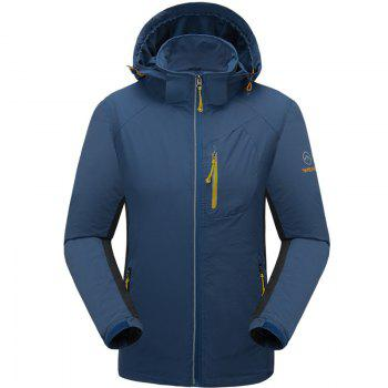 Outdoor Four Side Projectile Single Layer Charge Clothing for Male Autumn Mosaic Season Waterproof Mountaineering Suit - LAKE BLUE LAKE BLUE