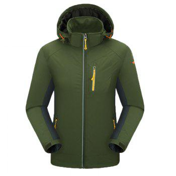 Outdoor Four Side Projectile Single Layer Charge Clothing for Male Autumn Mosaic Season Waterproof Mountaineering Suit - ARMYGREEN ARMYGREEN