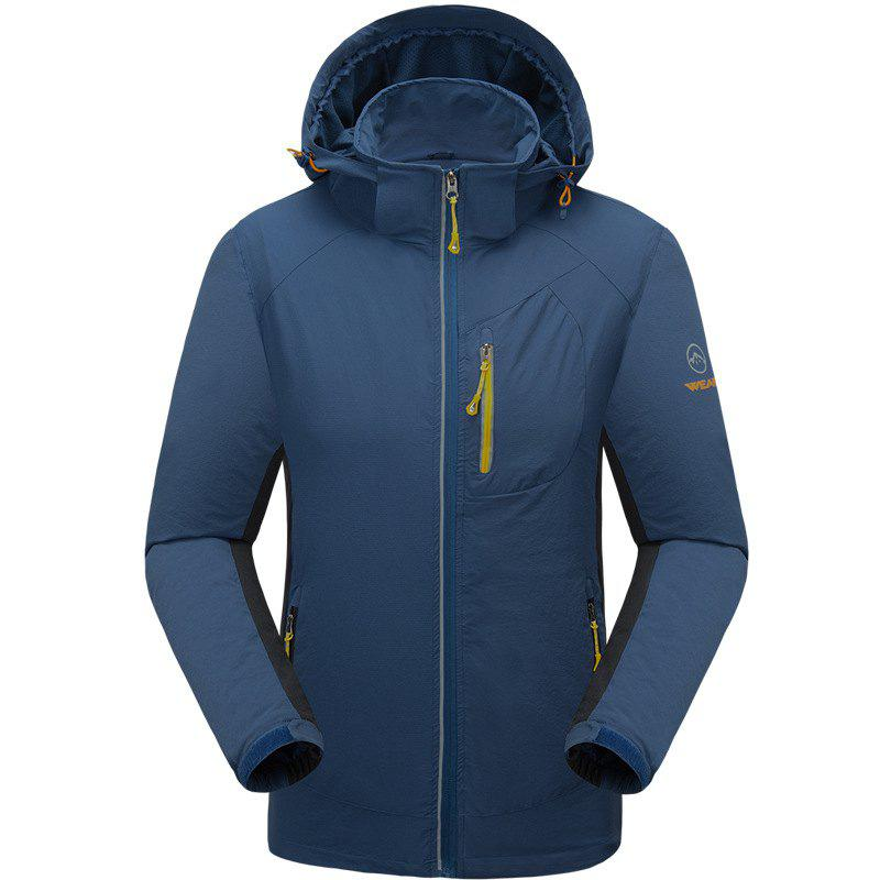 Outdoor Four Side Projectile Single Layer Charge Clothing for Male Autumn Mosaic Season Waterproof Mountaineering Suit - LAKE BLUE 2XL