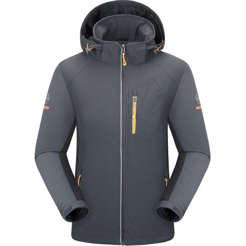 Outdoor Four Side Projectile Single Layer Charge Clothing for Male Autumn Mosaic Season Waterproof Mountaineering Suit - GRAY 3XL