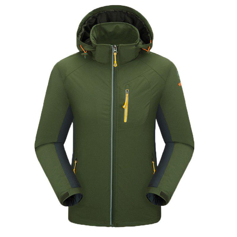 Outdoor Four Side Projectile Single Layer Charge Clothing for Male Autumn Mosaic Season Waterproof Mountaineering Suit - ARMYGREEN 2XL