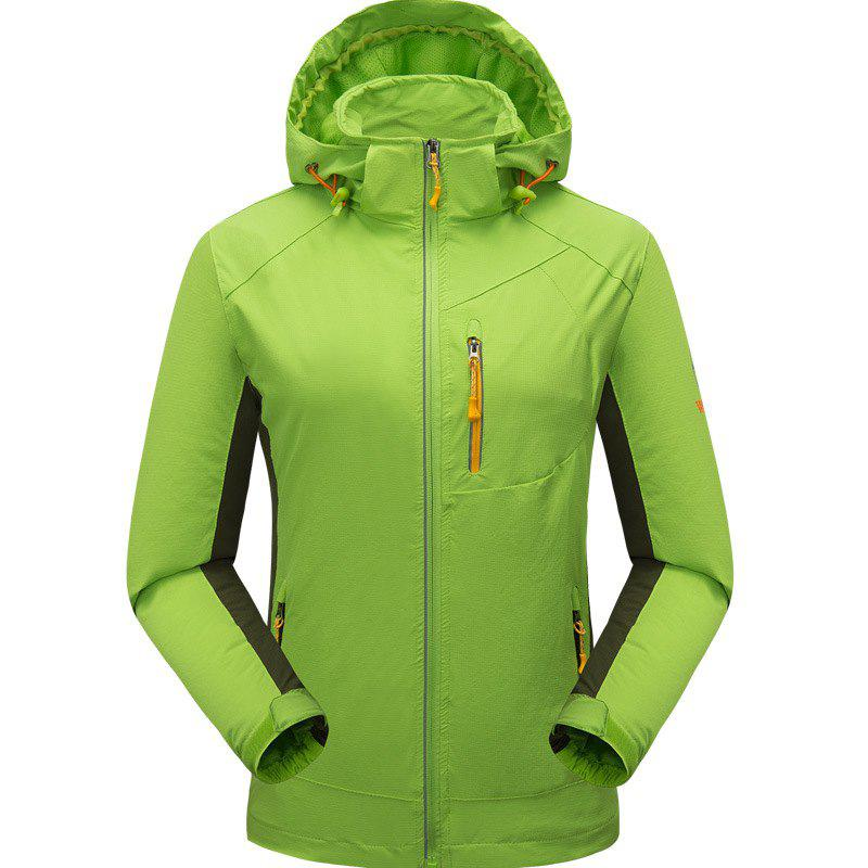 Outdoor Four Side Projectile Single Layer Charge Clothing for Male Autumn Mosaic Season Waterproof Mountaineering Suit - NEON GREEN 5XL