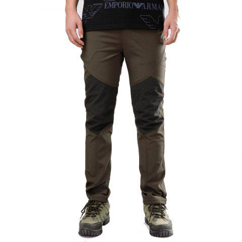 Autumn and Winter Outdoor Couple Pants Pants Men and Women Soft Shell Waterproof Breathable Plus Velvet Soft Shell Assau - ARMYGREEN XL