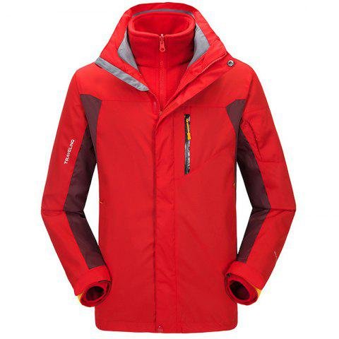 Winter Outdoor Clothing Andes Triple Three Sets of Windproof Breathable Sports Mountaineering Clothing - RED 3XL